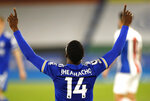 Leicester's Kelechi Iheanacho celebrates after scoring his side's second goal during the English Premier League soccer match between Leicester City and Crystal Palace at the King Power Stadium in Leicester, England, Monday, April 26, 2021.(Andrew Boyers/Pool via AP)