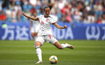Spain's Virginia Torrecilla passes the ball during the Women's World Cup Group B soccer match between China and Spain at the Stade Oceane in Le Havre, France, Monday, June 17, 2019. (AP Photo/Francisco Seco)