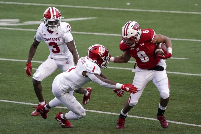 Wisconsin running back Jalen Bergeruns during the first half of an NCAA college football game against Indiana Saturday, Dec. 5, 2020, in Madison, Wis. (AP Photo/Morry Gash)