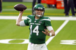 New York Jets quarterback Sam Darnold (14) throws against the Los Angeles Rams during the first half of an NFL football game Sunday, Dec. 20, 2020, in Inglewood, Calif. (AP Photo/Jae C. Hong)