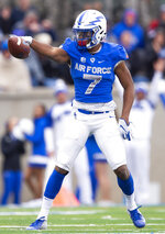 Air Force wide receiver Geraud Sanders (7) points down field after completing a first down against Navy during an NCAA college football game at Falcon Stadium at the U.S. Air Force Academy, Saturday Oct. 6, 2018, in Colorado Springs, Colo.  (Dougal Brownlie,/The Gazette via AP)
