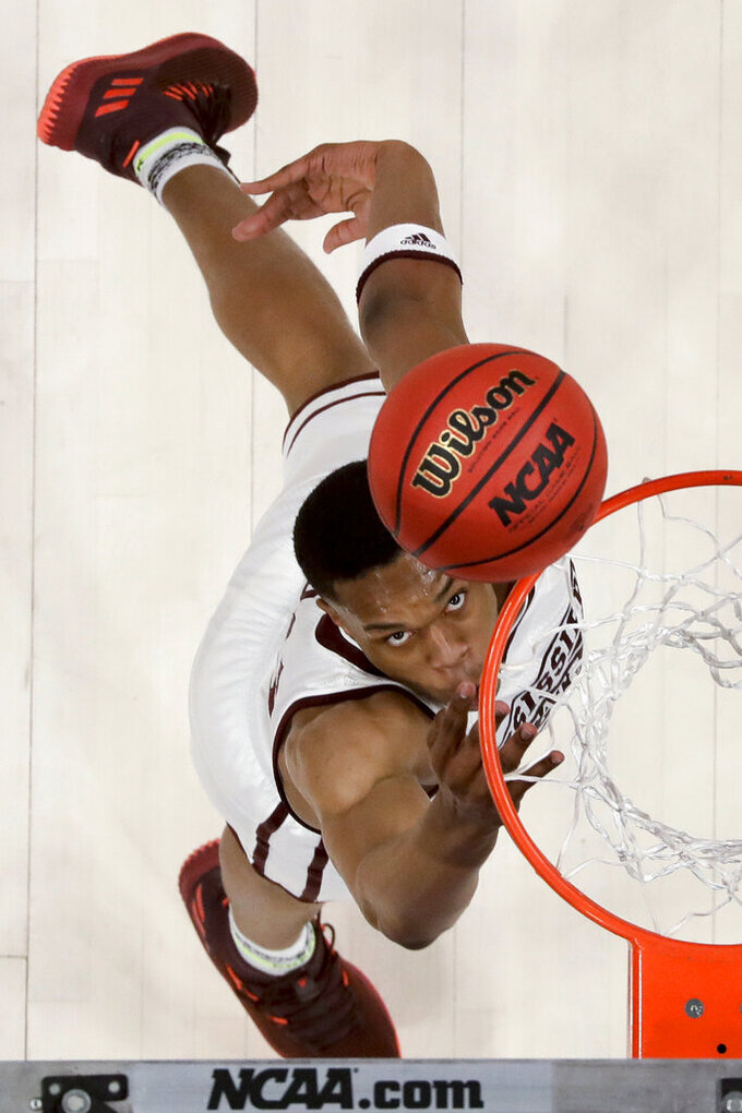 Mississippi State guard Robert Woodard shoots against Liberty during the first half of a first-round game in the NCAA men's college basketball tournament Friday, March 22, 2019, in San Jose, Calif. (AP Photo/Ben Margot)