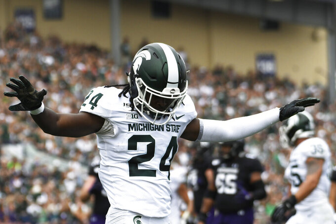 Michigan State cornerback Tre Person (24) gestures after breaking up a pass against Northwestern during the first half of an NCAA college football game, Saturday, Sept. 21, 2019, in Evanston, Ill. (AP Photo/David Banks)