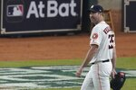 Houston Astros' Justin Verlander leaves the game during the seventh inning of Game 2 of the baseball World Series against the Washington Nationals Wednesday, Oct. 23, 2019, in Houston. (AP Photo/Eric Gay)
