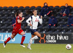 Tottenham Hotspur's Alex Morgan, right, vies for the ball with Reading's Lily Woodham during the English Women's Super League soccer match between Tottenham Hotspur and Reading at the Hive stadium in London Saturday, Nov. 7, 2020. Morgan came on as a 69th minute substitute, the game ended in a 1-1 draw. (AP Photo/Alastair Grant)