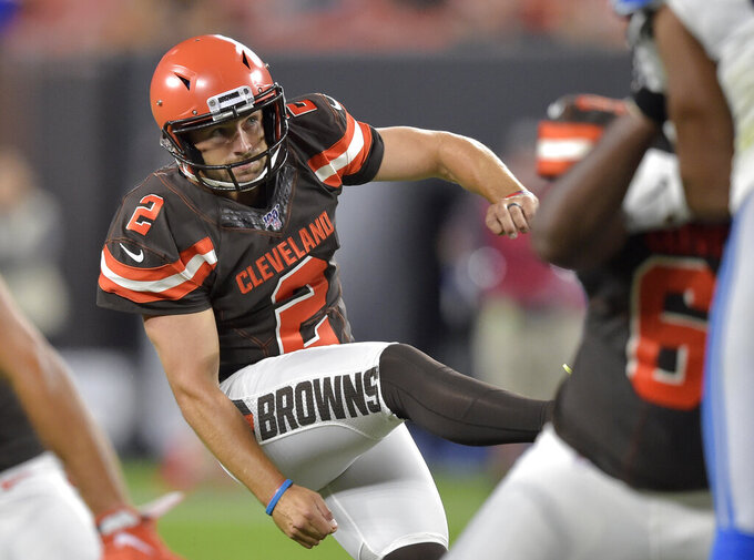 Cleveland Browns Austin Seibert watches his 33-yard field goal during the second half of the team's NFL preseason football game against the Detroit Lions, Thursday, Aug. 29, 2019, in Cleveland. (AP Photo/David Richard)