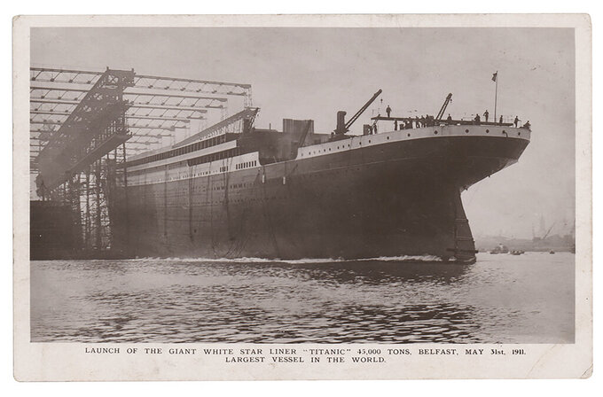 A photo copy provided by RR Auction of a postcard dated May 31, 1911, shows the Titanic, in Belfast, Northern Ireland. The postcard was sent with a message written in March 1912 by Jack Phillips, the Titanic's senior wireless operator, to his sister. The postcard is to be auctioned by RR Auction. (RR Auction via AP)