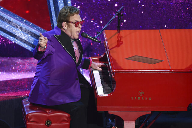 FILE - In this Feb. 9, 2020, file photo, Elton John performs