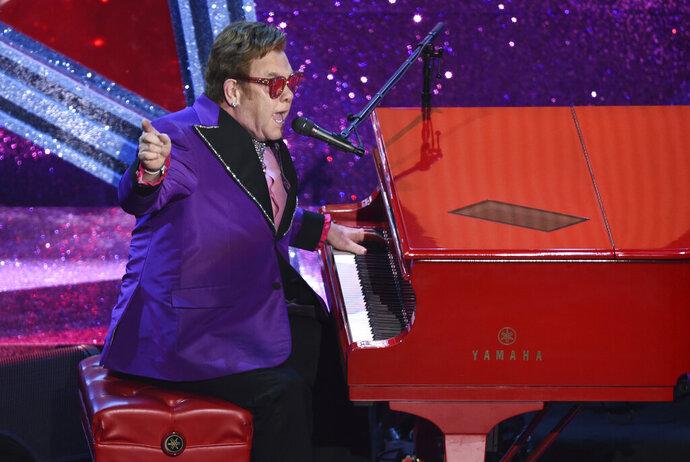 FILE - In this Feb. 9, 2020, file photo, Elton John performs