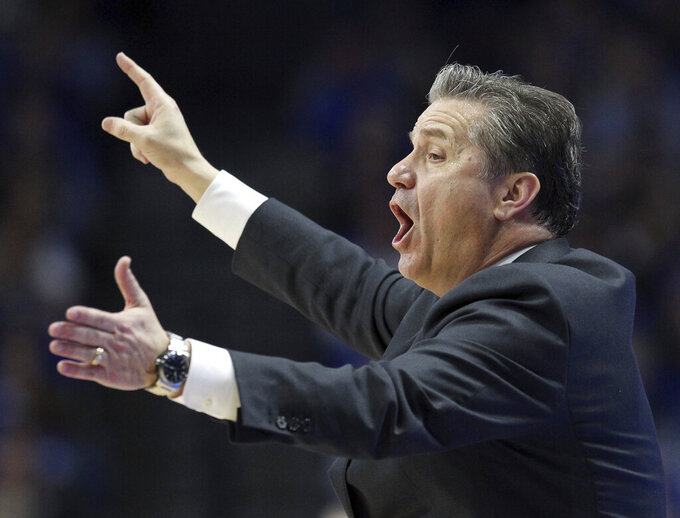 Kentucky head coach John Calipari directs his team during the second half of an NCAA college basketball game against Auburn in Lexington, Ky., Saturday, Feb. 23, 2019. Kentucky won 80-53. (AP Photo/James Crisp)