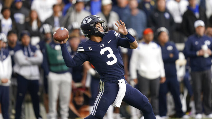 BYU quarterback Jaren Hall (3) throws in the second half during an NCAA college football game against Boise State, Saturday, Oct. 9, 2021, in Provo, Utah. (AP Photo/Rick Bowmer)