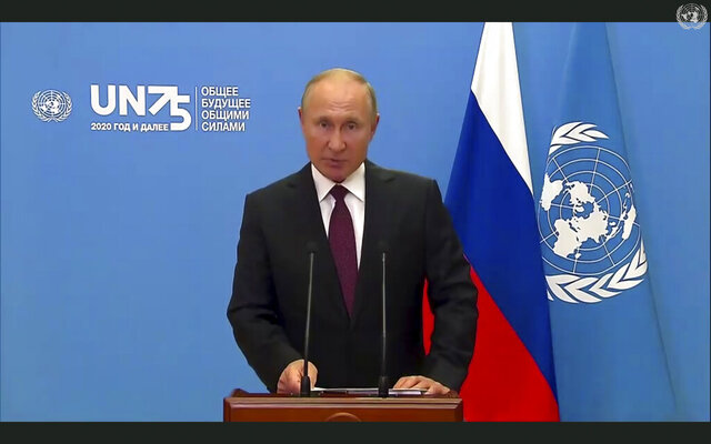 In this image made from UNTV video, Russian President Vladimir Putin speaks in a pre-recorded message which was played during the 75th session of the United Nations General Assembly, Tuesday, Sept. 22, 2020, at U.N. headquarters in New York. The U.N.'s first virtual meeting of world leaders started Tuesday with pre-recorded speeches from some of the planet's biggest powers, kept at home by the coronavirus pandemic that will likely be a dominant theme at their video gathering this year. (UNTV via AP)