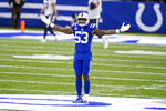 Indianapolis Colts outside linebacker Darius Leonard (53) celebrates after the defense recovered a fumble by the Houston Texans in the final minute of the second half of an NFL football game in Indianapolis, Sunday, Dec. 20, 2020. (AP Photo/Darron Cummings)