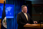 Secretary of State Mike Pompeo speaks at a news conference at the State Department in Washington, Monday, Nov. 18, 2019. Pompeo spoke about Iran, Iraq, Israeli settlements in the West Bank, protests in Hong Kong, and Bolivia. (AP Photo/Andrew Harnik)