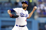 Los Angeles Dodgers relief pitcher David Price throws to the Colorado Rockies during the second inning of a baseball game Saturday, Aug. 28, 2021, in Los Angeles. (AP Photo/Marcio Jose Sanchez)