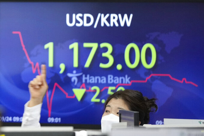 A currency trader gestures near the screen showing the foreign exchange rate between U.S. dollar and South Korean won at a foreign exchange dealing room in Seoul, South Korea, Friday, Sept. 24, 2021. Asian shares were mixed Friday amid concerns over troubled Chinese real estate developer Evergrande and over the pandemic. (AP Photo/Lee Jin-man)