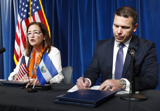 FILE - In this Sept. 20, 2019 file photo, Alexandra Hill Tinoco, Minister of Foreign Affairs for El Salvador speaks during a joint news conference with Acting Secretary of Homeland Security Kevin K. McAleenan at the US Customs and Border Protection Headquarters in Washington. El Salvador is not ready to receive asylum seekers from the United States and will not accept them until it can offer them the necessary protections and support, Hill Tinoco said Wednesday, Feb. 5, 2020. (AP Photo/Pablo Martinez Monsivais, File)