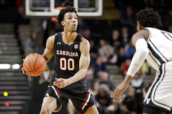 South Carolina guard A.J. Lawson plays against Vanderbilt in the second half of an NCAA college basketball game Saturday, March 7, 2020, in Nashville, Tenn. Leading scorer and 3-point shooter A.J. Lawson returned to school for his junior season after exploring the NBA draft process. (AP Photo/Mark Humphrey)