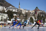In this photo provided by the IOC, from left, Sander Eitrem, of Norway, Nicky Rosanelli, of Italy, Fran Vanhoutter, of Belgium and Luisa Maria Gonzalez Salazar, of Spain, compete in the sixth heat of the Speed Skating Mixed NOC Team Sprint event of the 2020 Winter Youth Olympic Games in St. Moritz, Switzerland, Wednesday, Jan. 15, 2020. (Thomas Lovelock for OIS via AP)