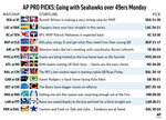 Graphic shows NFL team matchups and predicts the winners in Week 10 action; 3c x 4 3/8 inches; 146 mm x 111 mm;