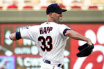 Minnesota Twins pitcher J.A. Happ throws to a Los Angeles Angels batter during the first inning of a baseball game, Friday, July 23, 2021, in Minneapolis. (AP Photo/Jim Mone)