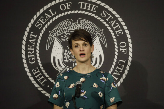 Dr. Angela Dunn, state epidemiologist from the Utah Department of Health, speaks during the daily COVID-19 briefing at the Utah State Capitol Thursday, April 9, 2020, in Salt Lake City. (AP Photo/Rick Bowmer, Pool)