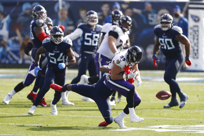 Baltimore Ravens tight end Mark Andrews (89) can't hang onto a pass in the first half of an NFL wild-card playoff football game against the Tennessee Titans Sunday, Jan. 10, 2021, in Nashville, Tenn. (AP Photo/Wade Payne)