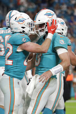 Miami Dolphins running back Patrick Laird (42) celebrates with quarterback Josh Rosen (3) after scoring a touchdown during the second half of an NFL football preseason game against the Jacksonville Jaguars, Thursday, Aug. 22, 2019, in Miami Gardens, Fla. (AP Photo/Lynne Sladky)