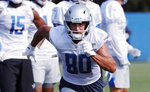 Detroit Lions wide receiver Danny Amendola runs a drill at the Lions NFL football practice facility, Thursday, July 25, 2019, in Allen Park, Mich. (AP Photo/Carlos Osorio)