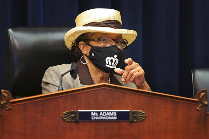 House Education and Labor Committee Workforce Protections Subcommittee Chair Rep. Alma Adams, D-N.C., wears a face mask during a House Committee on Education and Labor Subcommittee on Workforce Protections hearing examining the federal government's actions to protect workers from COVID-19, Thursday, May 28, 2020 on Capitol Hill in Washington. (Chip Somodevilla/Pool via AP)