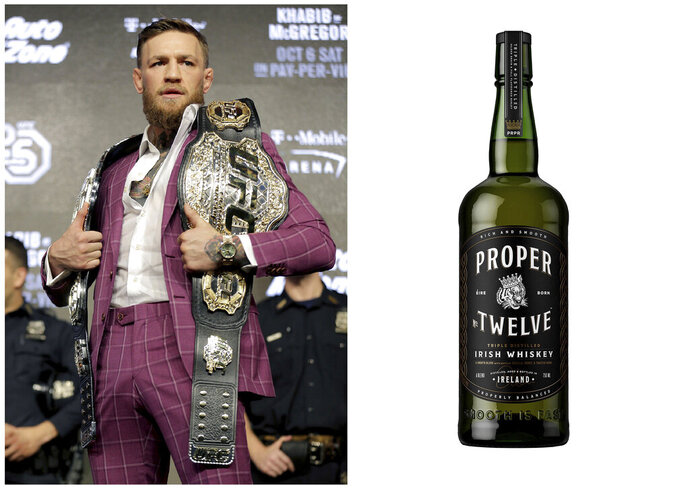 This combination photo shows Mix Martial Arts fighter Conor McGregor posing with a UFC championship belt during a news conference in New York, on Sept. 20, 2018, left, and his Proper No. Twelve Irish Whiskey. Celebrities are deep into the liquor and wine business with their own brands that are particularly gifty for drink-loving fans. (AP Photo, left, and Proper No. Twelve Irish Whiskey via AP)