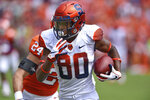Syracuse's Taj Harris (80) rushes past Clemson's Nolan Turner after pulling in a reception for a long gain during the first half of an NCAA college football game Saturday, Sept. 29, 2018, in Clemson, S.C. (AP Photo/Richard Shiro)