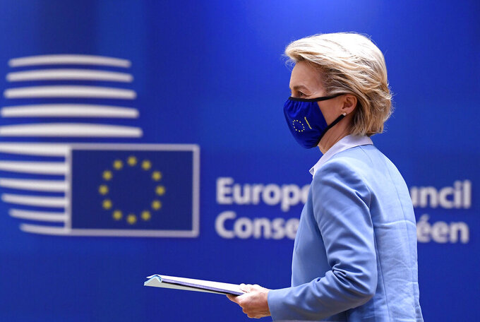 European Commission President Ursula von der Leyen attends a round table meeting at an EU summit in Brussels, Tuesday, May 25, 2021. European Union leaders gather for a second day of meetings to discuss the coronavirus pandemic and to assess new measures on how to meet targets to become climate-neutral by mid-century. (John Thys, Pool via AP)