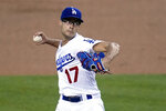 Los Angeles Dodgers starter Joe Kelly throws to an Oakland Athletics batter during the first inning of a baseball game Wednesday, Sept. 23, 2020, in Los Angeles. (AP Photo/Marcio Jose Sanchez)