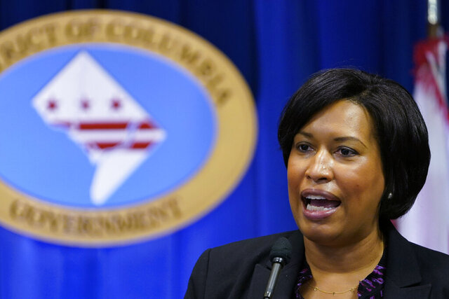 FILE - In this Wednesday, Nov. 4, 2020, file photo, District of Columbia Mayor Muriel Bowser speaks during a news conference in Washington. Bowser is seeking increased security around President-elect Joe Biden's Jan. 20, 2021, inauguration in the wake of the mob insurrection at the Capitol. (AP Photo/Susan Walsh, File)