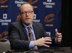 FILE - In this Thursday, Feb. 18, 2016, file photo, Former Cleveland Cavaliers general manager David Griffin speaks at a news conference before an NBA basketball game in Cleveland. Pelicans basketball operations chief David Griffin says the timing of next week's NBA draft won't necessarily raise urgency to trade disgruntled six-time All-Star Anthony Davis. The Pelicans have the first overall pick in the June 20 NBA draft and likely could acquire more high picks by dealing Davis by then.. (AP Photo/Tony Dejak, File)