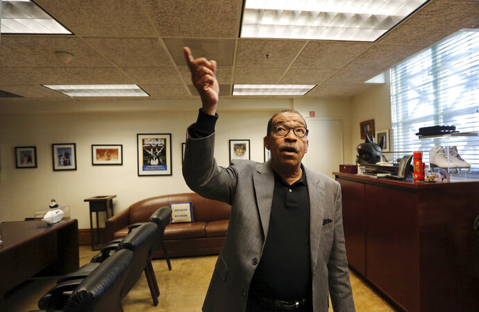 Los Angeles City Council President Herb Wesson describe how members of his staff had heard rustling sounds at City Hall in Los Angeles on Thursday, Feb. 7, 2019. Rats are scurrying between floors of Los Angeles' historic City Hall and possibly bringing in disease-borne fleas with them. Wesson is asking city staff to look into removing all of the building's rugs, where fleas are known to hide, after a person came down with typhus. (AP Photo/Reed Saxon)