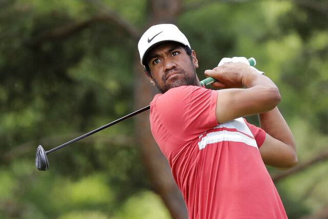 Tony Finau hits from the second tee during the second round of the Memorial golf tournament, Friday, July 17, 2020, in Dublin, Ohio. (AP Photo/Darron Cummings)