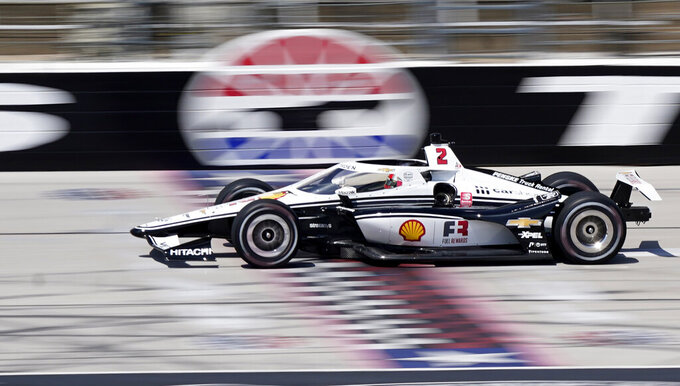 FILE - Josef Newgarden drives during IndyCar auto race testing at Texas Motor Speedway in Fort Worth, Texas, in this Wednesday, March 31, 2021, file photo. The IndyCar season begins at Barber Motorsports Park in Birmingham, Alabama on April 18. (AP Photo/LM Otero)