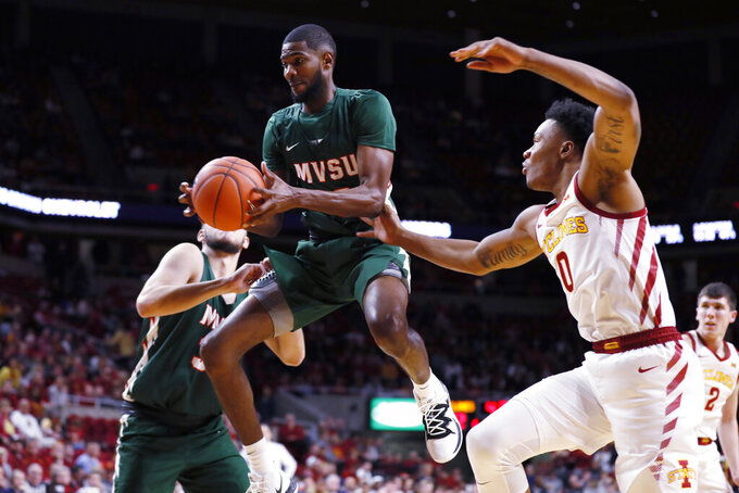 Mississippi Valley State forward Brandon Kimble drives to the basket past Iowa State forward Zion Griffin, right, during the second half of an NCAA college basketball game, Tuesday, Nov. 5, 2019, in Ames, Iowa. Iowa State won 110-74. (AP Photo/Charlie Neibergall)