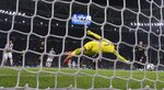 Juventus' Gonzalo Higuain, left, scores his side's opening goal during the Champions League, round of 16, first-leg soccer match between Juventus and Tottenham Hotspurs, at the Allianz Stadium in Turin, Italy, Tuesday, Feb. 13, 2018. (AP Photo/Antonio Calanni)