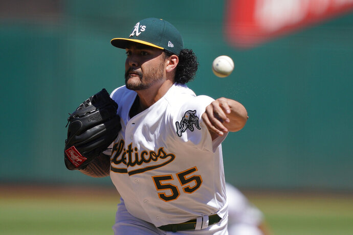 Oakland Athletics pitcher Sean Manaea works against the Detroit Tigers during the first inning of a baseball game Sunday, Sept. 8, 2019, in Oakland, Calif. (AP Photo/Ben Margot)