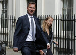 Britain's Foreign Secretary Jeremy Hunt arrives for a cobra meeting at 10 Downing Street in London, Monday, July 22, 2019. (AP Photo/Frank Augstein)