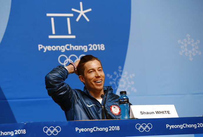 Men's halfpipe gold medalist Shaun White, of the United States, speaks at a news conference at the 2018 Winter Olympics in Pyeongchang, South Korea, Wednesday, Feb. 14, 2018. (AP Photo/Patrick Semansky)