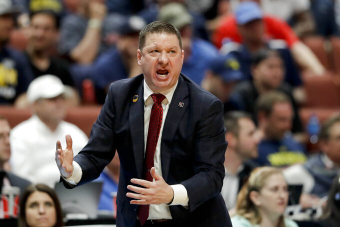 Texas Tech coach Chris Beard yells during the second half the team's NCAA men's college basketball tournament West Region semifinal against Michigan on Thursday, March 28, 2019, in Anaheim, Calif. (AP Photo/Marcio Jose Sanchez)