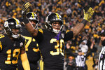Pittsburgh Steelers running back James Conner (30) celebrates his touchdown against the Carolina Panthers during the first half of an NFL football game in Pittsburgh, Thursday, Nov. 8, 2018. (AP Photo/Don Wright)