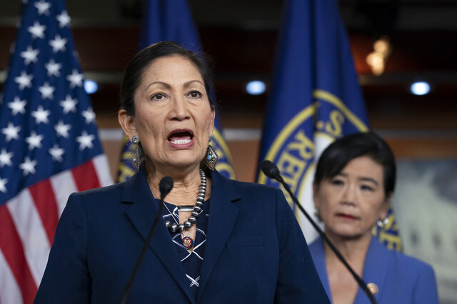 Rep. Deb Haaland, D-N.M., Native American Caucus co-chair, joined at right by Rep. Judy Chu, D-Calif., chair of the Congressional Asian Pacific American Caucus, speaks to reporters about the 2020 Census on Capitol Hill in Washington, Thursday, March 5, 2020. (AP Photo/J. Scott Applewhite)