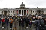 Protestors gather in Trafalgar Square, during a coronavirus anti-lockdown protest, in London, Saturday, Oct. 24, 2020. (AP Photo/Alberto Pezzali)