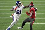 New York Giants' Jabrill Peppers, left, breaks up a pass intended for Tampa Bay Buccaneers' Scott Miller during the second half of an NFL football game, Monday, Nov. 2, 2020, in East Rutherford, N.J. (AP Photo/Bill Kostroun)