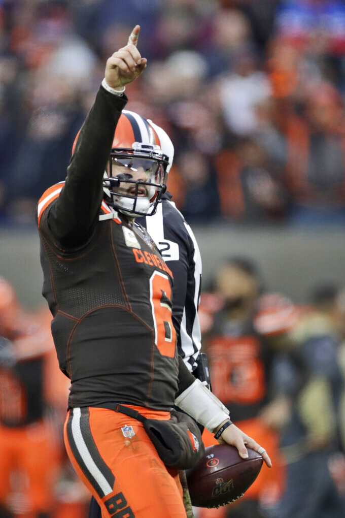 Cleveland Browns quarterback Baker Mayfield celebrates after the Browns defeated the Buffalo Bills 19-16 in an NFL football game Sunday, Nov. 10, 2019, in Cleveland. (AP Photo/Ron Schwane)